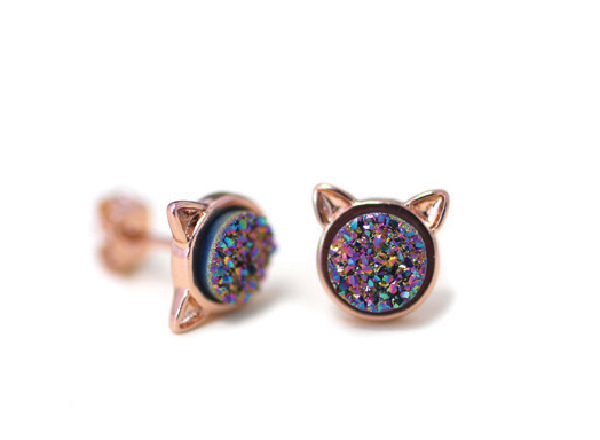 Jewellery Obsession: The Purrfect Accent  Jewellery Obsession: The Purrfect Accent Druzy Cat Stud earrings